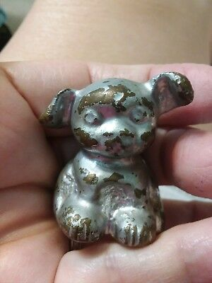 VTG Antique 1920s Cast BRASS  Fido Pup Dog Mini Paperweight Hubley ADVERTISING