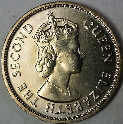 1974 Seychelles Half Rupee Queen Elizabeth Second Brilliant Uncirculated Coin