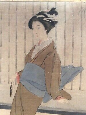 Wonderful Pair Of Japanese Needlepoint Pictures Geisha Japan 19th Century Orient