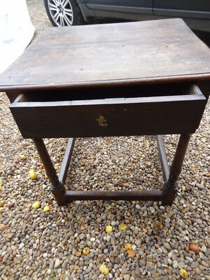 early oak side table with drawer