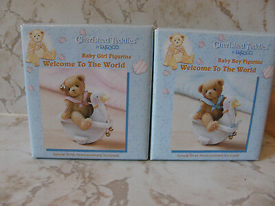Cherished Teddies WELCOME TO THE WORLD LOT OF 2 BOY & GIRL  NEW