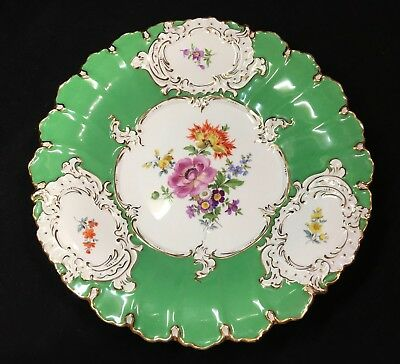 Early 20 th C  Meissen Large Cabinet Plate iGreen Floral Hand Painted VGC