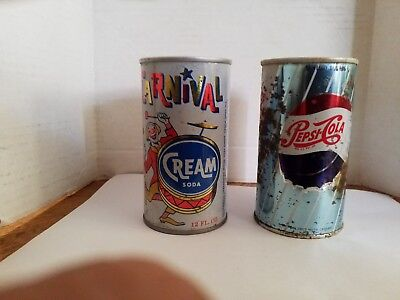 Vintage soda pop cans straight steel Pepsi Cola and Carnival cream soda