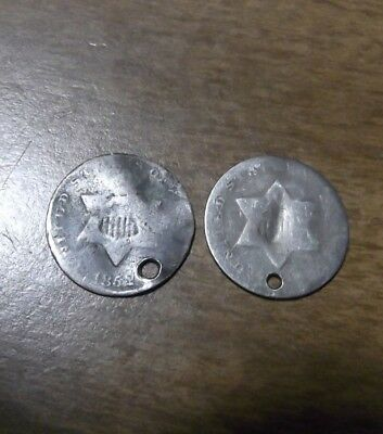 2   Three Cent Silver, 3c,  Holed 1852 and ?