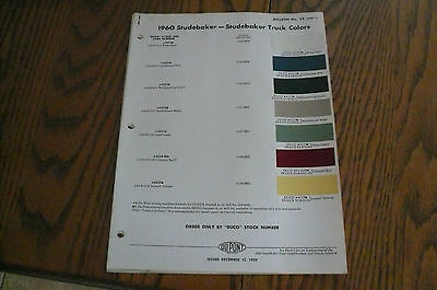 1960 Studebaker & Truck & 59-60 Spring Colors DuPont Color Chip Paint Sample