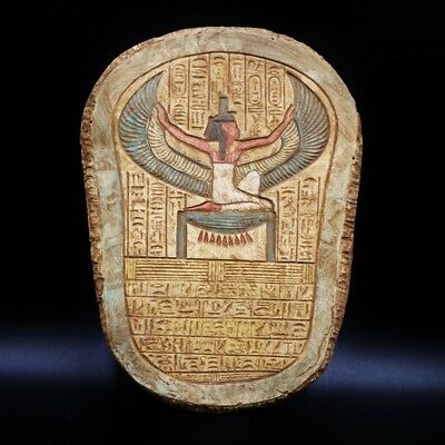 Antique Wall Plaque of Ancient Egyptian Quee ISIS with Heliographic Alphabet