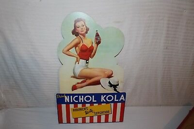 "Vintage c.1940 Nichol Kola Soda Pop Gas Station 29"" Pin-Up Girl Sign"
