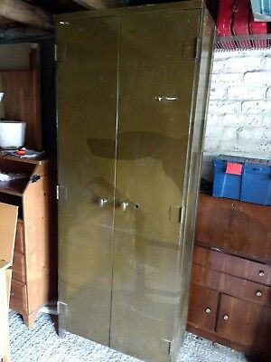 Vintage Retro Industrial Tall Metal Cabinet / Cupboard With Adjustable Shelves