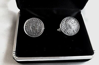 Certificated 200-350Ad Ancient Roman Emperor Silvered Coins Set In Cufflinks  A9