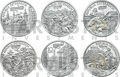 Austrian Silver 10€ Tales & Legends Complete 6-Coin Set – Multiple Coty Winners
