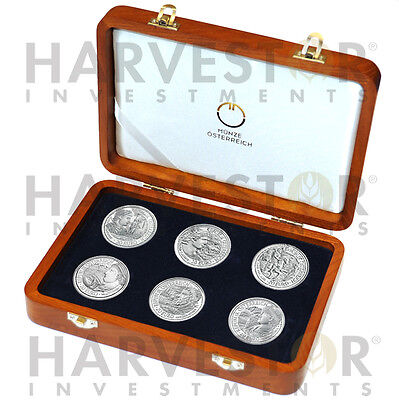 Austrian Silver 20€ Rome On The Danube Complete 6-Coin Set - With Collector Box