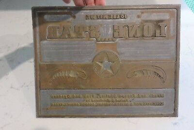 1960's Metal Printing Plate Lone Star Fish & Oyster Co. Advertising Logo  Texana