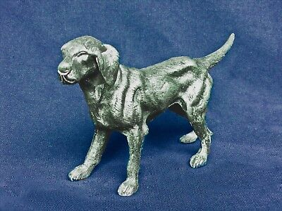Hunting Dog Pointer Retriever Cast Silver Plate Brass Metal Figurine