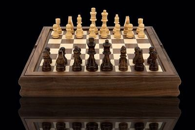 """Dal Rossi Wooden Chess Checkers Backgammon Walnut 14"""" 3 in 1 Board Game New-Gift"""