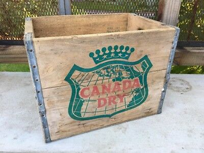 Vintage Wooden Soda Crate Canada Dry Ginger Ale Wood Pop Box 4/1965