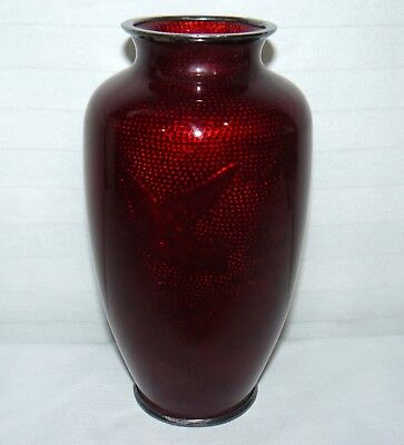 Vintage Chinese Ox Blood Foil Ginban Silver Cloisonne Flower Vase Bird & Bamboo