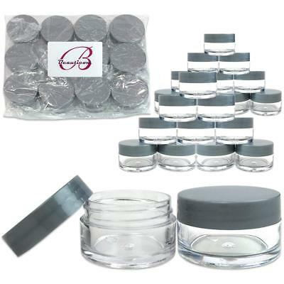 24 Pieces 20G/20ML Round Clear Cosmetic Cream Sample Jars Gray Lids BPA Free