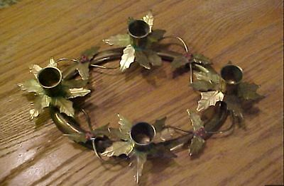 Solid Brass Holly 4 Leaf Oval Ring Candle Holder Christmas - Fall - Holidays