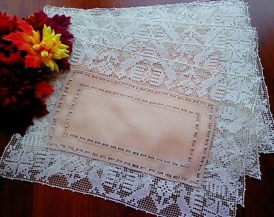 RARE Antique Italian Handmade BOSA Figural Lace Placemats Set of 12 Birds PEACH!