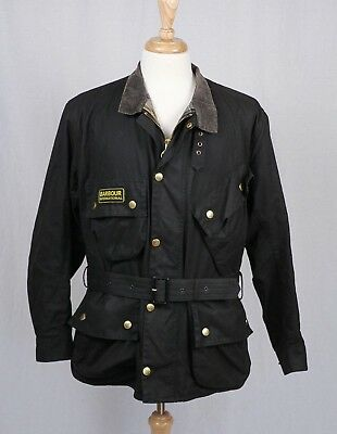 Barbour Mens Black International Waxed Cotton Jacket 44 / 112cm $449