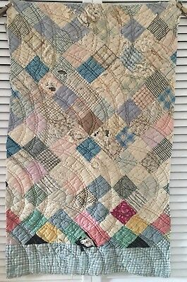 Antique Vintage Old Tattered Hand Pieced Quilted Early Patchwork Quilt Piece #2