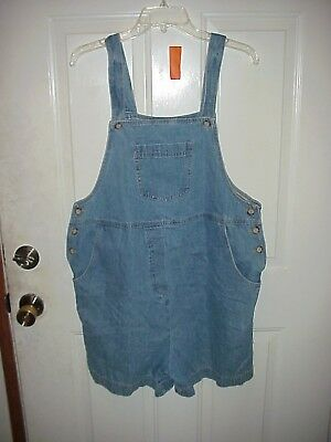 Womens Take Nine Maternity Blue Jeans Dungaree Romper Overalls Shorts Sz Large