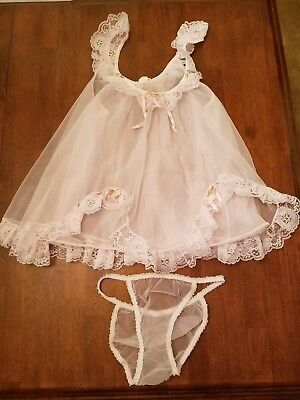 9d3056a4275 Vtg M 70s CHIC LINGERIE SET Pink Chiffon   Lace SHEER Babydoll Nightie    Panties