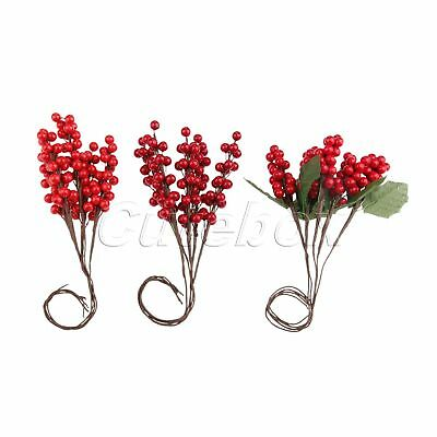 Berry Flower Branch Mini Artificial Berries Leaves Ornaments Party Decoration 5X