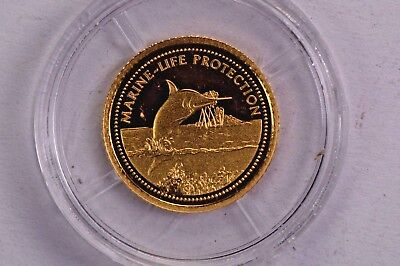 2000 Palau Gold $1 Marine Life Protection Swordfish .99c NO RESERVE