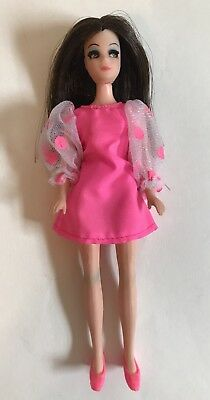 Vintage 70s Topper Dawn Angie Doll W/ Original Pink Dress & Shoes