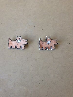 Vintage Pair Of Handmade Whimsical Ceramic Dog Pin Brooches Adorable