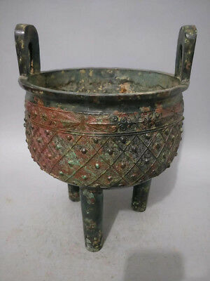 Awesome Incredible Vintage Old Rare Tripod Chinese Bronze Censer Incense Burner