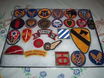 Big Lot of 37 WWII Military Uniform Patches Rare Tank Busters & Divisions Nice!