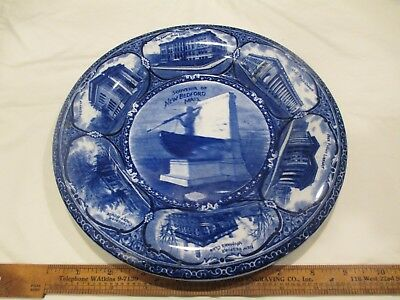 "c1900 New Bedford MA Whaling Rowland Marsellus Souvenir 10"" plate blue transfer"