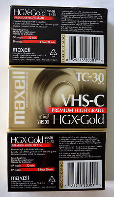 3 Pack Maxell TC-30 VHS-C Tapes - New