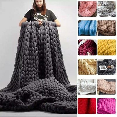 Yarn Home Handmade New Blanket Chunky Throw Knit Soft Wool Sofa Thick Line Decor