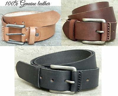 Real leather men belt genuine full grain buffalo hide new rustic pull up leather
