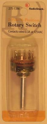 RadioShack 275-1386 2 Pole 6 Position Rotary Switch 2P6T DP6T 0.3A at 125VAC