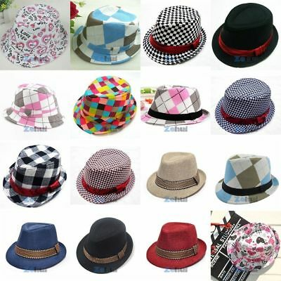Fashion Kids Boys Girls Fedora Trilby Hat Costume Gangster Dance Party Jazz Cap
