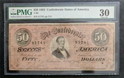Confederate CSA $50 Banknote T-66 PMG Graded Very Fine 30 Civil War 1864
