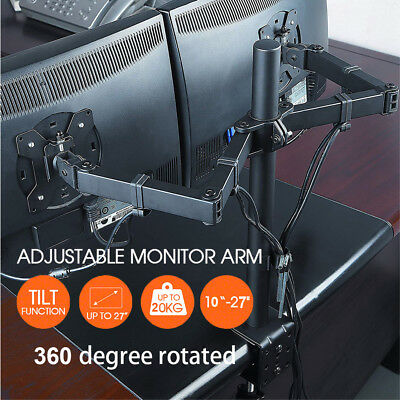 "10""-27"" Dual LED monitor stand 2 arm holds two LCD screen TV desk mount bracket"