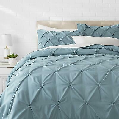 Full Queen Cal King Size Solid Spa Blue Pintuck Pleat 3 pc Comforter Set Bedding