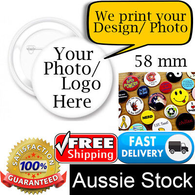 10 x Personalised Button Pin Badge Custom Gift Promotion Campaign Artwork Photo