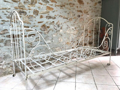 Beautiful French Antique Iron Folding Daybed