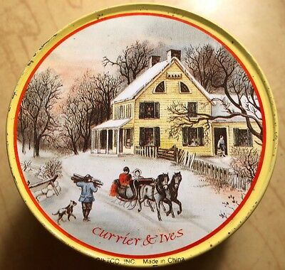 Vintage Set Of 6 Currier & Ives Metal Coasters Cork Backing Original Container