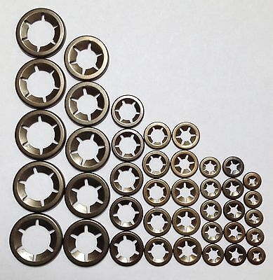 Starlock Washers Clips For Shaft Retaining Push On 5 X3,4,5,6,8,10,12&16mm 40PCE