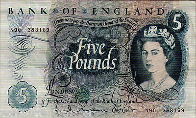 Great Britain Uk 5 Pounds P375 A 1963 Queen Holborn Currency Money Bill Gb Note