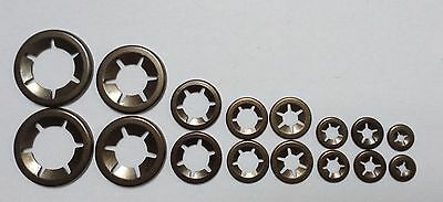 Star Push On Lock Washers For Metric Round Shafts  2 x 3,4,5,6,8,10,12,&16mm