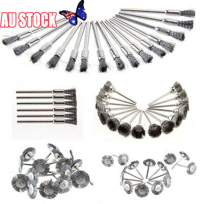 45pcs Stainless Steel Wire Cup Mix Brush Set Fits Dremel Rotary Tool Accessories