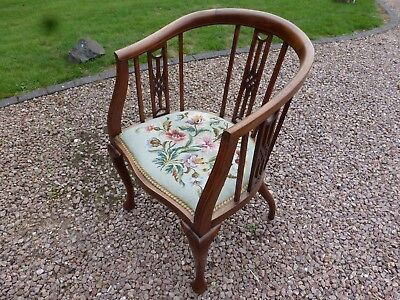 Edwardian Mahogany Slat Back Tub Chair